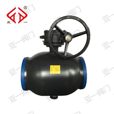 q367f-25c-dn350蜗轮式全焊接球阀(黑色)图片